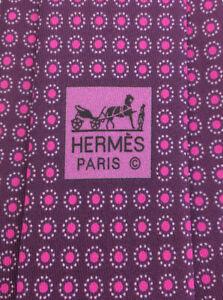 "HERMES TIE 5827 IA 100% Silk Purple Tie ""Dot"" pattern NIB NO TAGS"