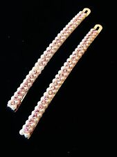 USA Quality Bobby Pin Hair Clip using Swarovski Crystal Hairpin Pearl Long Pink