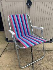 Vtg Pink Blue Purple Stripe Metal Frame White Handles Camping Garden Deck Chair