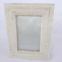 Handmade INDIA Vintage Family Photograph Framed Photo Frame Beads White Picture
