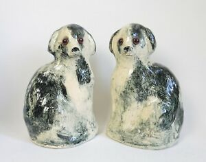 Pair of studio pottery mantelpiece wally dogs