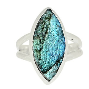 Labradorite Rough 925 Sterling Silver Ring Jewelry s.6.5 ALLR-4086