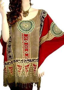 LATINO Poncho Kaftan Top Kurta African Patterned Kimono Duster Tunic Beachwear
