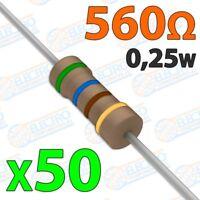 Resistencia 560 ohm 0,25w ±5% 300v - Lote 50 unidades - Arduino Electronica DIY