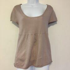 Tintoretto Womens Blouse Sz S Mauve Knit Short Sleeve Slik Drawstring Waist XT26