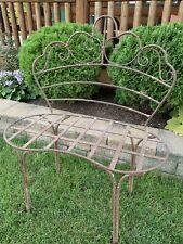 Antique Vintage Wrought Iron Metal Garden Bench