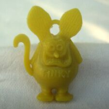 Vintage Ed Roth Mini Miniature Yellow Rat Fink Finky Charm Two Ring Holes