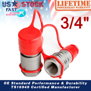 """3/4"""" Skid Steer Bobcat Flat Face Hydraulic Quick Connect Couplers/Couplings Set"""