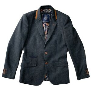 House Of Cavani Mens Wool Two Buttons Blazer Navy Grey Mix Size 36 UK