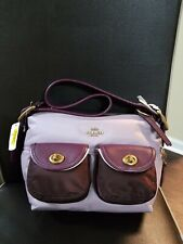 Coach 91741 Lilac Purple Multi Nylon Cargo Satchel Handbag