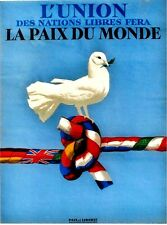 Original vintage poster UNION OF FREE NATIONS FOR PEACE DOVE c.1945