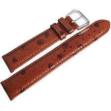 18mm deBeer Mens Havana Tan Ostrich-Grain Leather Watch Band Strap