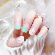 24pcs acrylic flower fake finger nail full cover fake false nail art tip DIY