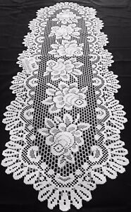 """Heritage Lace Runner White Alpine Rose Vintage New Doilies Doily 15"""" X 44"""""""