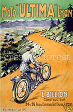 MOTO ULTIMA, Vintage French Motorcycle Poster Repro Rolled CANVAS PRINT 17x24 in