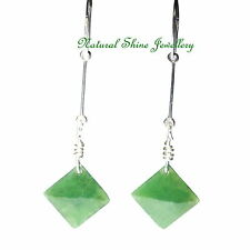 Drop Lever-back Earrings 925 Sterling Silver 11 CT Natural Nephrite Jade Square