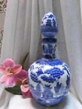 WHITE & BLUE WILLOW LG WINE DECANTER BOTTLE FLOWER VASE ORIENTAL CHINESE ASIAN