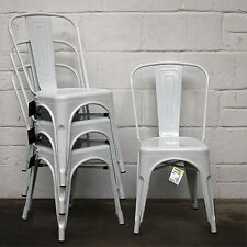 Metal Dining Chair Stackable Industrial Vintage Style Seat Bistro Cafe Kitchen White 4