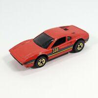 Vintage 1977 Hot Wheels Ferrari 308 Red Diecast Hong Kong 1:64 Gold Rims