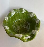 Vintage B412 California USA Pottery Green Bowl Hanging Planter Wood Grain Glaze