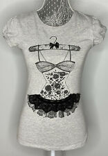Last Girl Sz S Grey Graphic T-Shirt Tutu Bow Rhinestones Lace