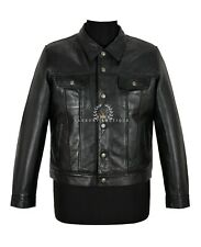 Trucker Men's Leather Jacket Black Real Lambskin Casual Fashion Shirt Jacket
