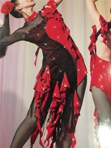 Dance Costume Lyrical Spainish Latin Hearts on Fire