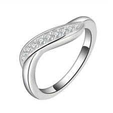 Women 925 Silver Plated Ring Rhinestone Fashion US Size 7 8 Wedding Ring Jewelry