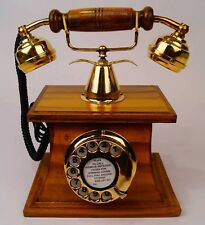Antique WOOD & BRASS Working Handmade Table beautiful Rotary Telephone Best Gift