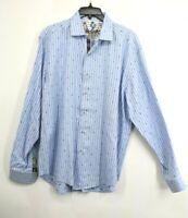 Robert Graham Mens Long Sleeve Blue Dress Shirt Paisley Contrast Flip Cuff XL