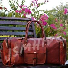 Men's Brown Vintage Travel Luggage Duffel Gym Bags Tote Goat Genuine Leather Bag