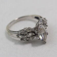 AMAZING 925 STERLING SILVER CZs SOLITAIRE WITH ACCENTS SIZE 8