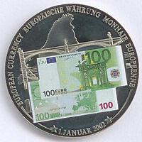 Medaille European Currency 2002 100 Euro Zertifikat D03937 Ø 40 mm 32 Gr. B85/10
