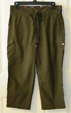 New ANTHROPOLOGIE Olive Green WIDE & NARROW CARGOS Crops Pants by Hei Hei Sz 10