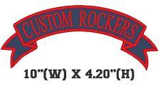 "Custom Embroidered Top Rocker Ribbon Patch Vest Outlaw Biker MC Badge 10"" (E)"