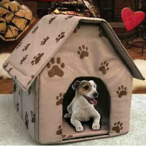 Portable Indoor Soft Fabric Cat Dog House with Removable Cushion
