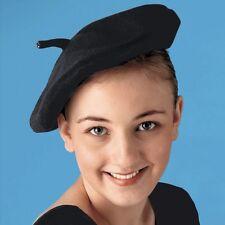 Childs Black Felt Beret - French Fancy Dress - Dance Costume