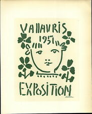 1959 Mini Poster Lithograph ORIG Print Pablo Picasso Exposition Vallauris