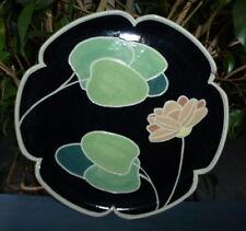 Signed Keller Art Deco~Thrown Pottery~Black Bright Ceramic~8.5