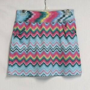 Allie Burke Womens XS (28-30W) Pink Blue Chevron Stripe Pockets Golf Skort