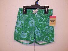 NWT Oshkosh B'gosh Boys Swim Shorts-5-Green/Blue-Floral-Hawaiian Look