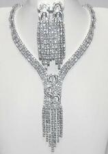 """YOUR SPECIAL DAY TRIPLE ROW  CZ BRIDAL CLUSTER  NECKLACE & EARRING SET-18"""""""