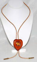 Vintage Elks Club Carved Elk Inset Into Wood Heart Bolo on Braided Suede
