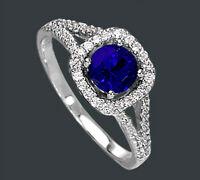 925 ECHT SILBER RHODINIERT *** Ring Zirkonia  saphir safir blau, Gr. 52 (16,5)
