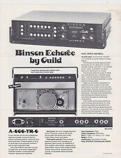 VINTAGE AD SHEET #2708 - BINSON ECHOREC by GUILD - MUSIC EFFECTS