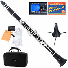 Mendini Bb Clarinet Ebony Wood Body Silver Keys +Tuner+Stand+11Reeds+Case~MCT-40
