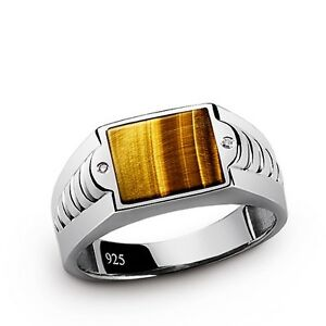 NEW TIGERS EYE and GENUINE DIAMOND Mens FINE Solid Silver Natural Gemstone Ring
