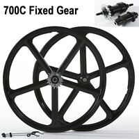700c Fixed Gear 5-Spoke Mag Wheels Rims Set of Front & Rear Fixie Bike Clincher