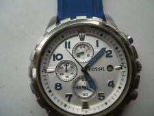 Fossil chronograph men's blue rubber band,quartz,Analog& battery watch. Fs-4611