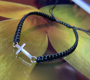 Men/women Cross Black Handmade Adjustable Bracelet